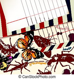 Retro vector with detailed insects papper in vintage...