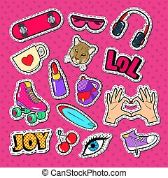 Teenager Girl Fashion Badges, Patches and Stickers. Girlish Style Doodle with Lipstick, Eyeglasses and Skateboard. Vector illustration