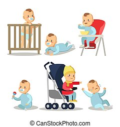 Newborn Baby Boy Cartoons Set. Vector Character illustration