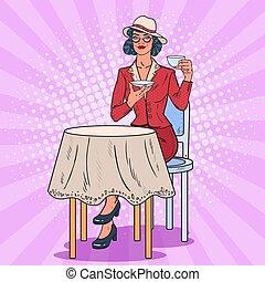 Pop Art Woman Drinking Tea in Cafe. Coffee Break. Vector illustration