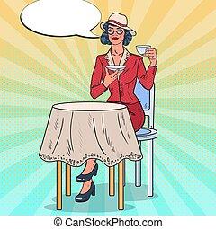 Pop Art Beautiful Woman Drinking Tea in Cafe. Coffee Break. Vector illustration