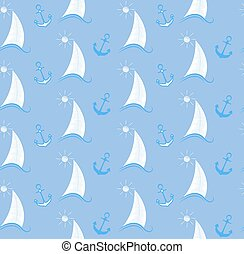 Sea seamless pattern with a sailboat on waves and an anchor.