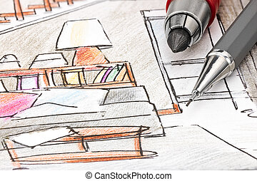 designers drawing tools on colored draft sketch of living...