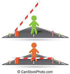 barrier - illustration, person before closed and opened by...