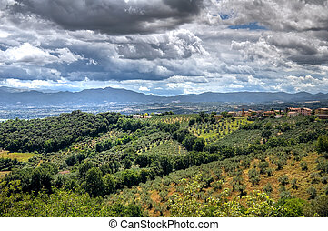 Panoramic view of Montefalco. Umbria.