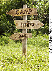 Wooden info road sign