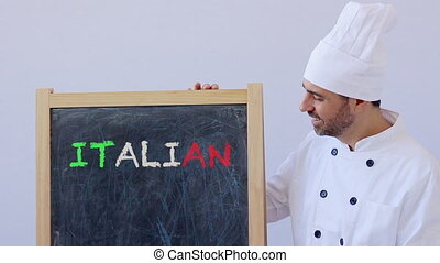Chef with ITALIAN sign - ITALIAN text with chef in uniform...