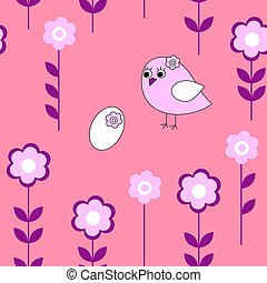 Cute seamless pattern with a bird on a pink background