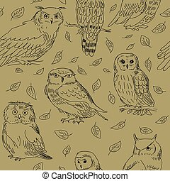 Cute seamless pattern with different owls and leaves