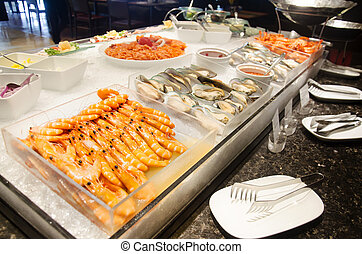 Cuisine seafood line at food buffet