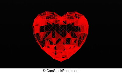 Plexus of abstract lines, triangles and dots. Heart, love. Loop animations.