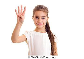 Little girl in white T-shirt and black skirt - Little nice...