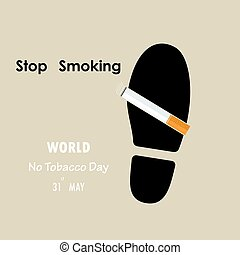 Shoe prints,foot prints and Quit Tobacco sign.May 31st World...