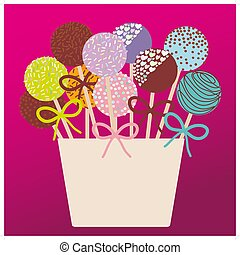 Colorful Sweet Cake pops set with bow in a pink bucket on...