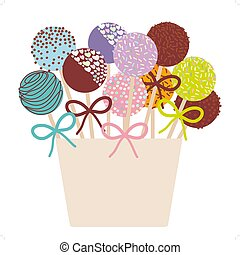 Colorful Sweet Cake pops set with bow in a pink bucket...