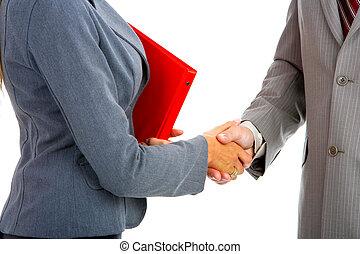 Handshake - Business people meeting Handshake Isolated over...