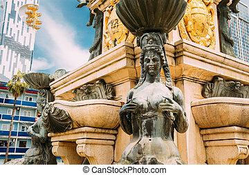Batumi, Adjara, Georgia. Neptune Fountain in park on...