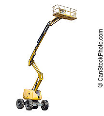 Self propelled articulated boom lift on a light background -...
