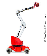 Wheeled articulated boom lift on a light background - Red...