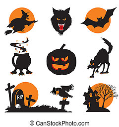 halloween icons - Set of vector images Two-color icons of...