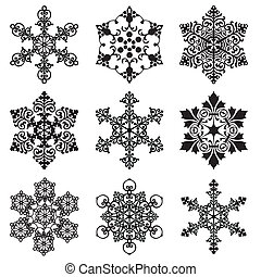 set snowflakes - set of vector silhouette snowflakes in the...