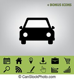 Car sign illustration. Vector. Black icon at gray background with bonus icons at celery ones