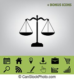 Scales balance sign. Vector. Black icon at gray background with bonus icons at celery ones