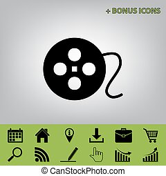 Film circular sign. Vector. Black icon at gray background with bonus icons at celery ones