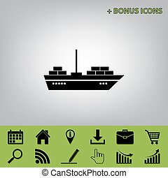 Ship sign illustration. Vector. Black icon at gray background with bonus icons at celery ones