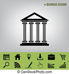 Historical building illustration. Vector. Black icon at gray background with bonus icons at celery ones