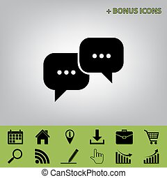 Speech bubbles sign. Vector. Black icon at gray background...