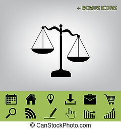 Scales of Justice sign. Vector. Black icon at gray background with bonus icons at celery ones