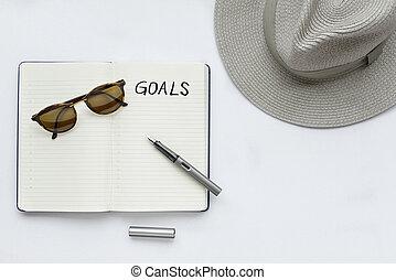 My goals written on notebook