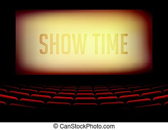 movie cinema or theater hall for film premier poster design with chairs inside room
