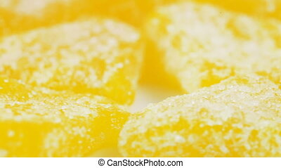 Pile of slivers of pineapple - Rotation of a pile of...