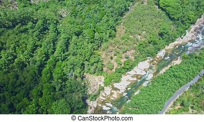 Drone Moves over Deep Wild Tropical Jungle Crossed by River...