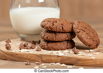 Home Baked Oat Cookies With Chocolate. - Home Baked Oat...