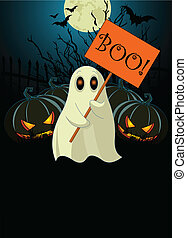Ghost with sign. Halloween invit - Halloween invitation of...