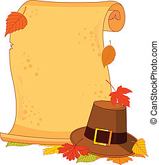 Thanksgiving scroll - Thanksgiving scroll with pilgrim hat...