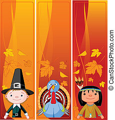 Vertical Thanksgiving Banners - Three Cute Thanksgiving and...