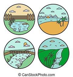 Landscape round design concept. Flat line nature view...