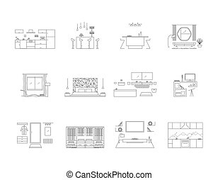 Interior design in high tech style. Home design vector illustration set. Modern minimalist house designs.