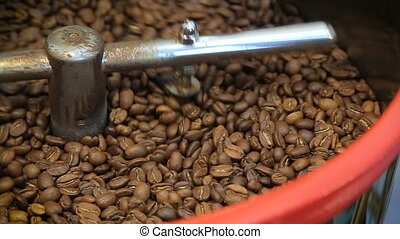 Coffee Roaster Cooling Down Freshly Roasted Coffee Beans Close-up