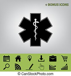 Medical symbol of the Emergency or Star of Life with border. Vector. Black icon at gray background with bonus icons at celery ones