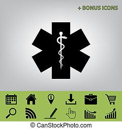 Medical symbol of the Emergency or Star of Life. Vector. Black icon at gray background with bonus icons at celery ones