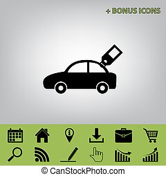 Car sign with tag. Vector. Black icon at gray background with bonus icons at celery ones