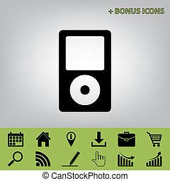 Portable music device. Vector. Black icon at gray background...