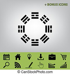 Bagua sign. Vector. Black icon at gray background with bonus...