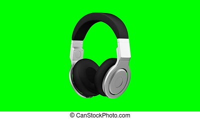 black leather headphones isolated on green background 3d...