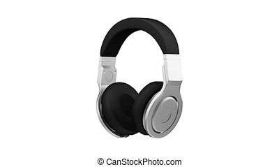black leather headphones isolated on white background 3d...